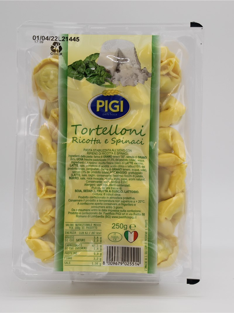 Product | TORTELLONI RICOTTA E SPINACI PIGI 250g