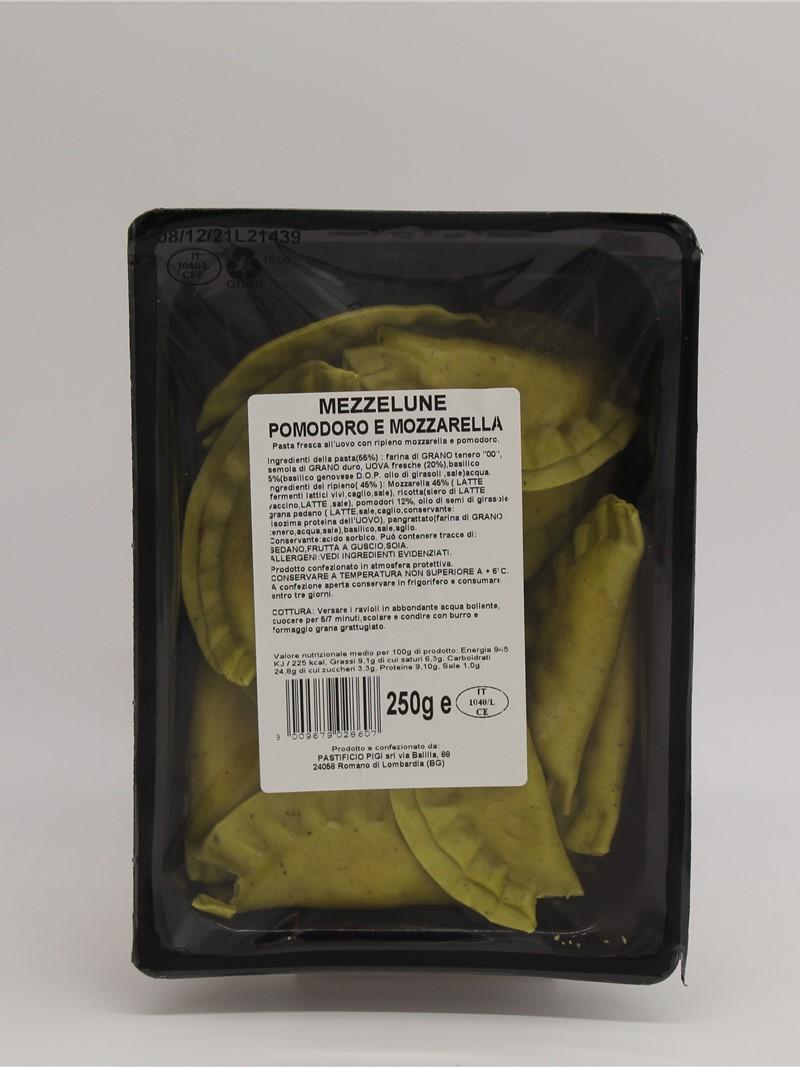 Product | MEZZELUNE MOZZARELLA E POMODORO 250g PASTA AL BASILICO